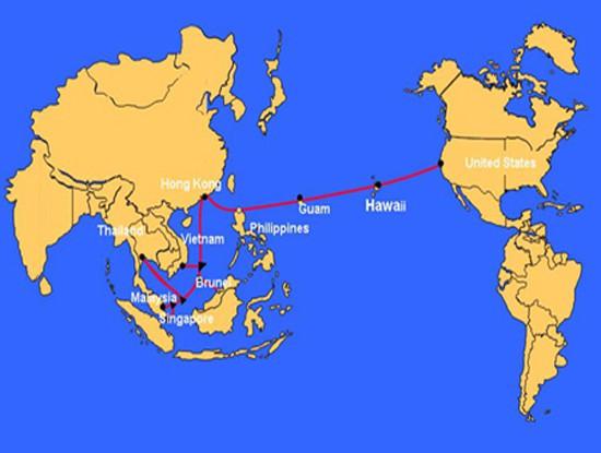 ' Hình ảnh bản đồ tuyến cáp quang biển AAG '