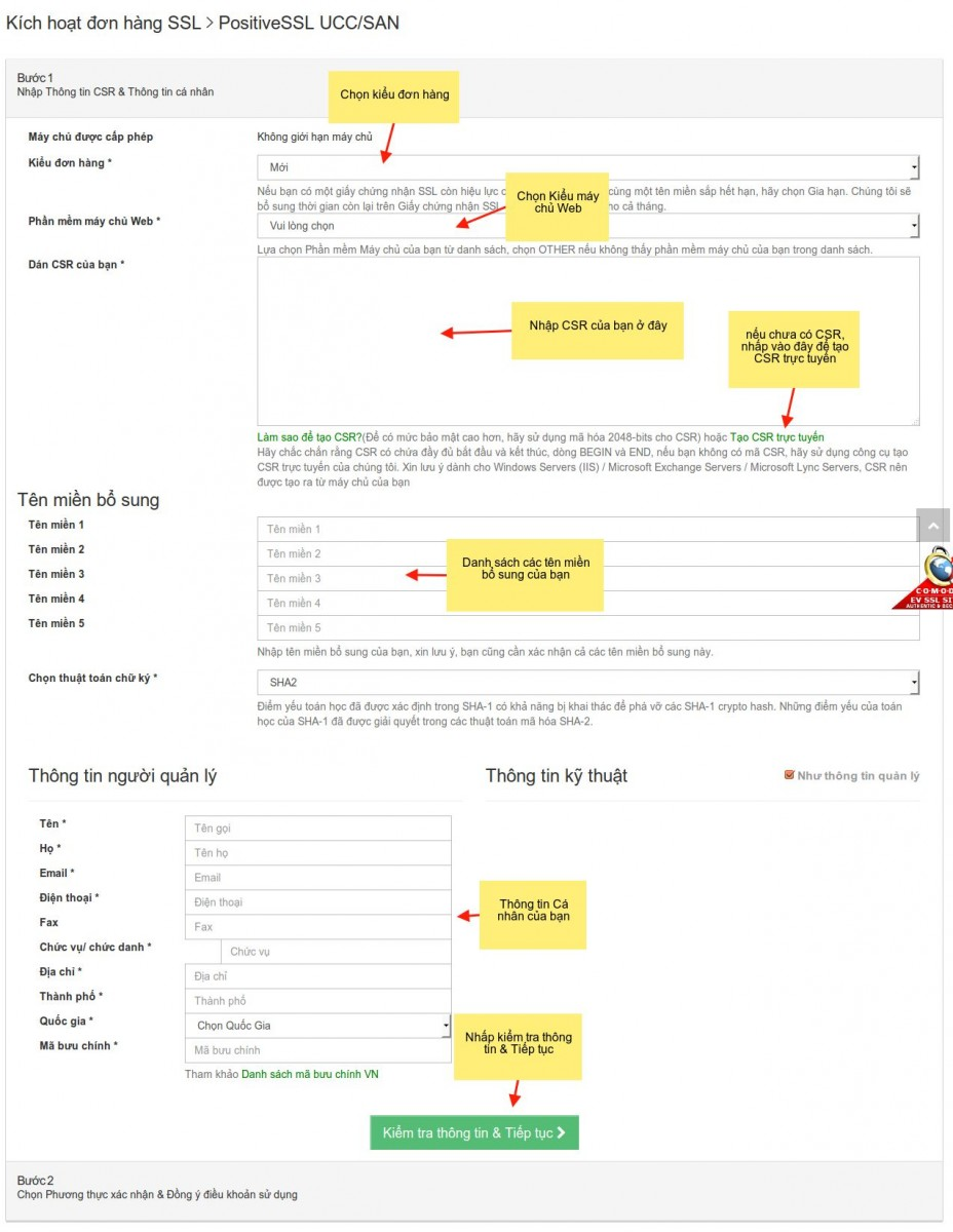 Hướng dẫn kích hoạt SSL Multi Domain (SANs)